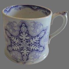 Earthenware Mug / Cup with Purple Snowflake Transfer 1800's