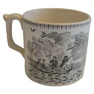 Earthenware Mug / Cup ~ Green Transfer of Men Hunting Ducks from Boat 1800's