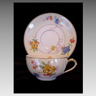 Colorful Limoges Porcelain Cup and Saucer ~ Hand Painted with Flowers ~ Bernardaud & Co
