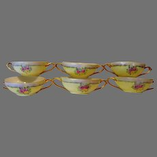 Six ( 6 ) Bouillon Cups ~ Bavarian ~ Double Handles ~ Hand Painted with Pink & Yellow Roses ~ Favorite Bavaria ~ Early 1900's