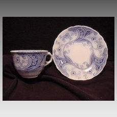 """Nice English Blue & White Semi-Porcelain """"Flow Blue"""" Cup and Saucer ~ """"Richmond """" Pattern ~ Burgess & Leigh Staffordshire Early 1900's"""