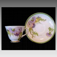 "Beautiful English Bone China Cup and Saucer Hand Painted with Purple and Yellow Thistles ~ ""Glamis Thistle"" Pattern~ Royal Doulton England"
