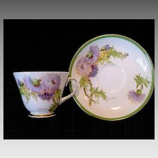 """Beautiful English Bone China Cup and Saucer Hand Painted with Purple and Yellow Thistles ~ """"Glamis Thistle"""" Pattern~ Royal Doulton England"""