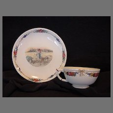"""Wonderful French Cup and Saucer with Couple in Wheat Field ~ """"Obernai"""" Pattern ~ Faïenceries Sarreguemines, Utzschneider & Co 1900-1940"""