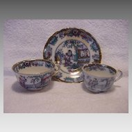 """Nice English Polychrome Chinoiserie 2 Cups & 1 Free Saucer ~  """"Chinese Ching"""" Pattern ~ William Adams Staffordshire England 1895-1912"""