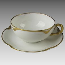 Set of 5 Porcelain CUPS & SAUCERS ~ Silver Anniversary Pattern Schleiger #19 ~ Gold Accents~ Haviland & Co Limoges France 1894+