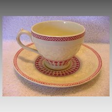 Great English Demitasse Cup and Saucer ~ Red Transfer~ George Jones and Sons England 1920+