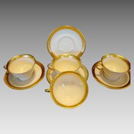 (4) ~ Wonderful Pickard  Porcelain Cups and Saucers ~ Gold Etched Athenian Pattern ~ Decorated by Pickard Studios Chicago IL 1938