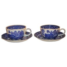2 Cups and Saucers ~ Blue Willow Pattern - Buffalo Pottery New York 1911
