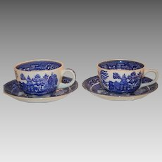 50% OFF 2 Cups and Saucers ~ Blue Willow Pattern - Buffalo Pottery New York 1911
