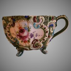 Colorful Japanese Moriage Footed Cup