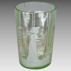 Antique Green Glass Tumbler ~Mary Gregory ~White Enameled - Victorian Girl Motif with Bird
