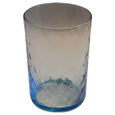 Antique Blue Glass Tumbler Cup ~ Fish Scale Design ~ late 1800's