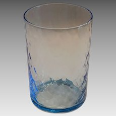 Antique Blue Glass Tumbler Cup ~ Fish Scale Design ~ late 1800's