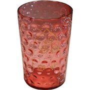 Antique Cranberry Glass Tumbler Cup ~Bohemian Moser Style ~ Gold & Enamel Decorations late 1800's
