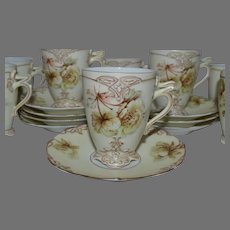 Rare German Chocolate / Demitasse Cup & Saucer~ 7 AVAIL ~ Old Ivory VII ~ Clarion Mold ~ Hermann Ohme Silesia Germany 1900-1920
