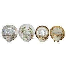Four Wonderful Demitasse Cups and Saucer Sets ~ Hand Painted ~ Limoges Porcelain ~ Bawo & Dotter Elite Works 1900+  / A. KLINGENBERG 1891 / Haviland 1894-1931 UNION CERAMIQUE ca 1909 - ca 1938  (Limoges, France)