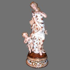 """Figurine / Statue ~ Woman, Angle / Cherub and Butterfly ~ Exquisite 17 ¼"""" German Porcelain ~ Dresden Area Decorating Studio Germany 1920's +"""