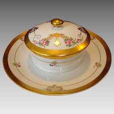 Wonderful Nippon Covered Cheese Serving Dish ~ Hand Painted by Pickard with Art Nouveau Pink Roses ~ Pickard Studios Chicago IL 1912-1918