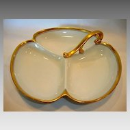 Beautiful German Porcelain ~ Three Compartment Nappy Dish ~ White and Gold ~ REINHOLD SCHLEGELMILCH - R.S. Germany ~ca 1910 – 1938 /Pickard China Chicago IL
