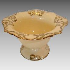 Beautiful Bone Footed China Candy Dish With Silver Overlay ~ Floral Design ~ LENOX, Inc. - CERAMIC ART Co. (Trenton, NJ, USA) - ca 1896 – 1906