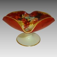 """REDUCED!! Porcelain Dish ~ Hand Painted Autumn Currants ~ Pickard Artist Signed """"F James"""" ~ P.H. Leonard NY based Import CO ~ 1905-1907"""