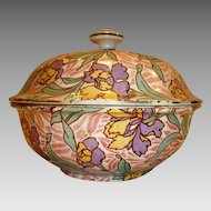Rare 3 Piece Berry Drainer / Butter Dish  French Faience ~ Purple and Yellow Flowers ~ UTZSCHNEIDER & CO (Sarreguemines, France) - ca 1900 - 1930s