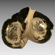 Large French Antique  Faience / Majolica   Divided Dish / Basket ~ Shoemaker & Fishmonger ~ Hautin & Boulengar Choisy Le Roi France 1860-1910