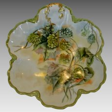 Gorgeous Limoges Porcelain Dish ~ Hand Painted with Green and Blue Hops ~ Marcelline Mold ~~ Haviland & Co Limoges France 1888-1896