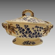 Awesome Covered Dish / Sauce Tureen ~ Blue Transfers of Maidenhair Ferns ~ Ridgways Staffordshire England 7/25/1881