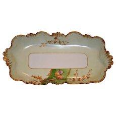 Exquisite  Ice Cream / Sandwich Dish ~ Limoges Porcelain ~ Hand Painted with Flowers and Gold Paste ~ Lavilette Limoges France1896-1905  Lazeyras Rosenfeld & Lehman Limoges France LR&L 1920's