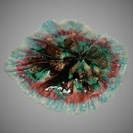 Majolica Nappy Dish / Plate ~ Leaf Shape