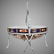 Imari Oval Sweet Meat Dish w/Metal Stand ~ Pattern 6060 ~  Davenport Longton Staffordshire  England 1870 - 1886