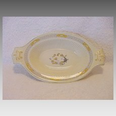 """Nice Old English Two Handled Dish ~ Decorated with Yellow Flowers ~ """"The Meaford"""" Pattern ~ RIDGWAYS (Staffordshire, UK) - ca 1912 - 1920"""