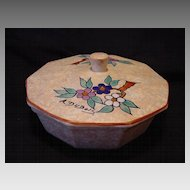 "Nice Art Deco Ten Sided Covered Bon Bon / Candy Dish ~ Hand Painted with Blue and Red Flowers ~ Signed ""A Dubois"" Belgium  1930-1941"