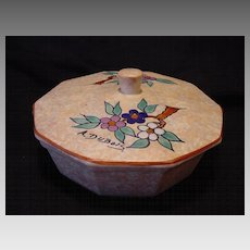 """Nice Art Deco Ten Sided Covered Bon Bon / Candy Dish ~ Hand Painted with Blue and Red Flowers ~ Signed """"A Dubois"""" Belgium  1930-1941"""