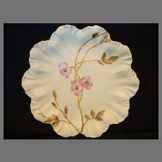 Beautiful Limoges Porcelain Dish ~ Hand Painted with Matte Finish and Pink Wild Roses ~ A. Lanternier France 1890-1900