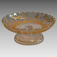 Footed Candy Dish ~Bohemian crystal glass  ~ Engraved Flowers with Gold Gilt ~ Moser  Bohemian Czech