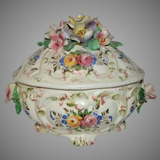 Vintage Italian Covered Dish ~ Barbotine Roses ~ Hand Painted ~ Made in Italy 1900'S