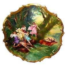 "Extraordinary 15 ' 1/2'"" Limoges Porcelain Plaque / Charger ~ Hand Painted with Allegorical Scene of Women Hunting Elk ~ Signed Dubois ~ Lazeyras Rosenfeld & Lehman  early 1900's"