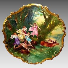 """Extraordinary 15 ' 1/2'"""" Limoges Porcelain Plaque / Charger ~ Hand Painted with Allegorical Scene of Women Hunting Elk ~ Signed Dubois ~ Lazeyras Rosenfeld & Lehman  early 1900's"""