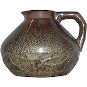 French Pitcher / Vase ~ Squat Bulbous ~ Cucumber Crystalline Glaze ~ Green-Gray & Brownish Purple ~ Etna Line 4210~ Sarreguemines France 1900's