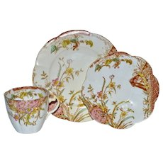 Cup, Saucer and Luncheon Plate Trio ~ Pre Shelley ~Mauve Aesthetic Pattern ~ Wileman & Co Foley Potters Staffordshire England 1890-1910