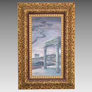 REDUCED! Baroque Gilt Carved Wood Gesso Frame 1800's with Original Oil on Board.