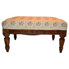 French Footstool with carved rope edge. Circa 1850 - 1900.