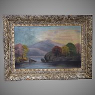 Antique Wood Frame ~ Silver & Gold Gilt Gesso late 1800's early 1900's with bonus Oil on Board Painting.