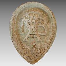 Plaster monogram shield-1889 German American Bank-National Register Historical Places-St.Joseph, Missouri