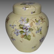 Rare Ginger  / Tea Jar with lid ~ Hand painted Violets ~  Celia Laighton Thaxter (1835-1894) ~ Boston China-Decorating Works (1860-1925).