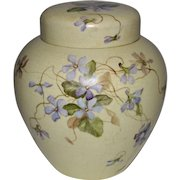Rare Boston China-Decorating Works (1860-1925). Ginger jar with lid. Hand painted Violets. Celia Laighton Thaxter (1835-1894).