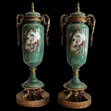 Lovely pair of Nippon Garniture's with Allegorical Romantic scene. Circa 1940's - Moriyama Pottery.